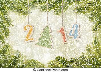 2014, háttér., vektor, év, új, boldog