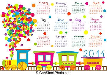 2014, naptár, kiképez, karikatúra