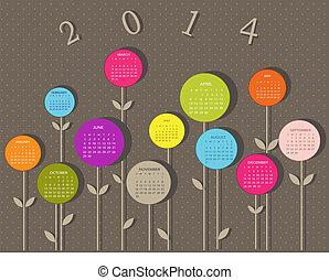 2014, naptár, menstruáció, év