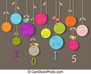 2015, naptár, menstruáció, év