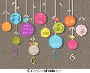 2016, naptár, menstruáció, év