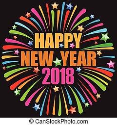 2018, boldog, év, új