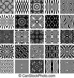 25, állhatatos, patterns., seamless, fekete, fehér, geometriai