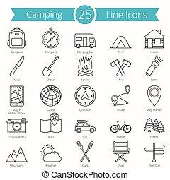 25, egyenes, kempingezés, ikonok