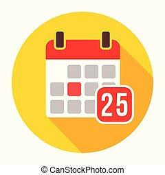 25, lakás, pictogram, aláír, szám, ábra, elszigetelt, szilárd, vektor, fehér, jel, naptár, megtöltött, ikon