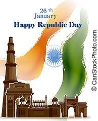 26, india, híres, köztársaság, lobogó, háromszínű, indiai, január, történelmi, nap, boldog, emlékmű, háttér
