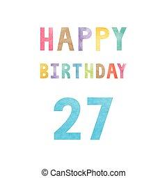 27th, születésnap, évforduló kártya, boldog