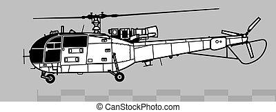 3, áttekintés, alouette, vektor, önvédelmi fegyverek, 316, 319., aerospatiale, rajz