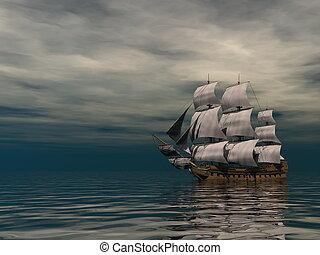 3, öreg, kereskedelmi, render, óceán, hajó, -