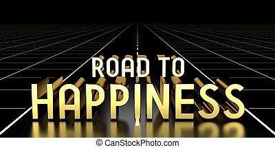 3, boldogság, út, -, vakolás, fogalom