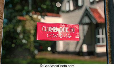 3, covid-19., töpreng, csukott, bolt, elárul, üzenet, vakolás, ablak, aláír, közelkép, nap, city., esedékes, pohár