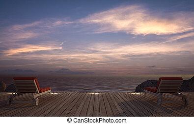 3, daybed, fából való, kép, vakolás, terasz, tenger kilátás, félhomály