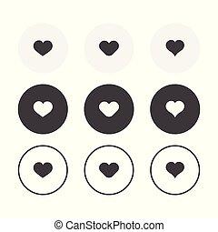 3, egyszerű, tervezés, szív, háttér, kerek, állhatatos, icons., gyűjtés