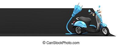 3, elektromos roller, vakolás, transzparens