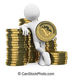 3, emberek., bitcoin, fehér