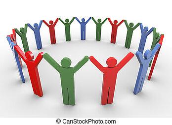 3, emberek, hálózat, társadalmi