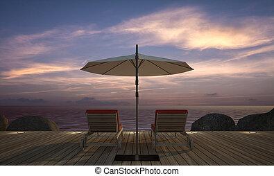 3, esernyő, daybed, fából való, kép, vakolás, terasz, tenger kilátás, félhomály