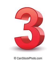 3, fényes, szám, piros, 3