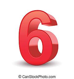 3, fényes, szám, piros, 6
