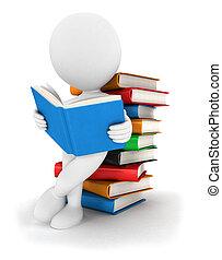 3, felolvas, könyv, fehér, emberek