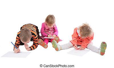 3 gyermekek, rajz, három