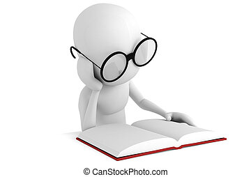 3, könyv, felolvasás, ember