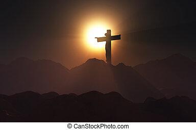 3, kereszt, táj, jézus