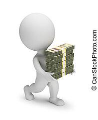 3, -, kicsi, dollárok, emberek, kazalba rak, szállít