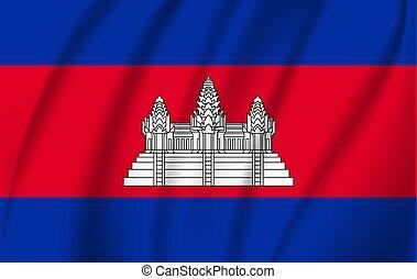 3, lobogó, vektor, hullámzás, ábra, cambodia.