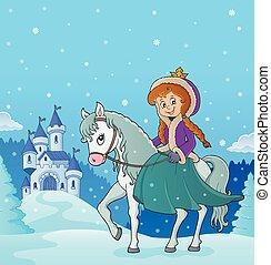 3, lovaglás, tél, ló, hercegnő