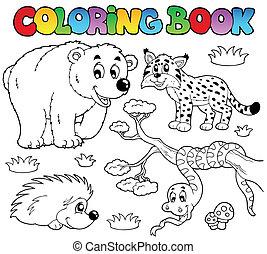 3, színezés, állatok, könyv, erdő