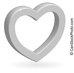 3, szív, vektor, sima, ezüst