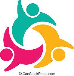 3, társadalmi, csoport, teammates, emberek