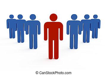 3, társaság, főnök, vezető, befog