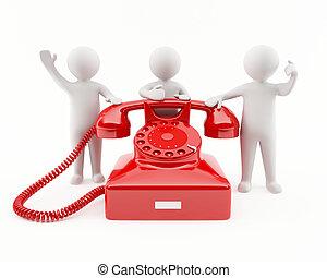 3, telefon, piros, emberek