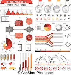 3, vektor, állhatatos, infographics