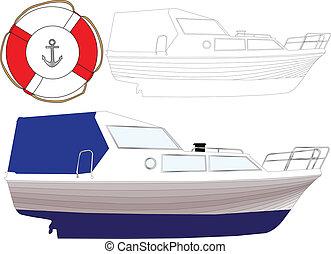 3, vektor, -, csónakázik