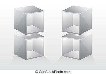 3, vektor, elszigetelt, üres, bookshelf.