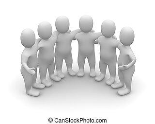 3, viszonoz, csoport, illustration., friends.
