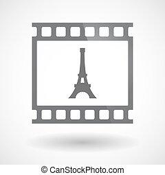 35mm film, bástya, elszigetelt, keret, csúszás, eiffel, photogram