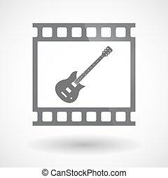 35mm film, elszigetelt, gitár, keret, csúszás, elektromos, photogram