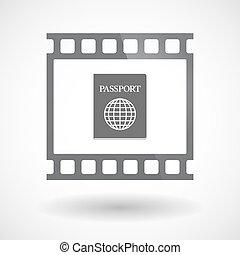 35mm film, elszigetelt, keret, csúszás, útlevél, photogram