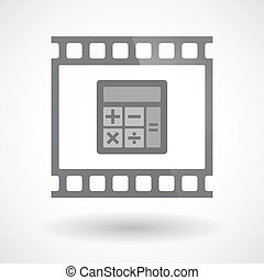 35mm film, elszigetelt, keret, csúszás, photogram, számológép