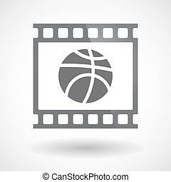 35mm film, kosárlabda labda, elszigetelt, keret, csúszás, photogram
