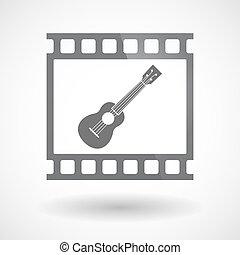35mm film, ukulele, elszigetelt, keret, csúszás, photogram