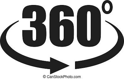 360, kilátás, fok, ikon