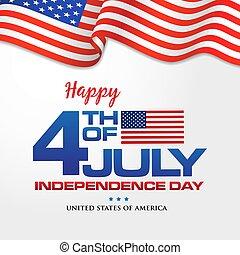 4, boldog, transzparens, nap, amerika, szabadság, july., lenget lobogó