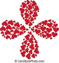 4, forgás, illeszt, játék kártya, virág, szív, szirom