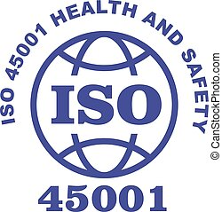 45001, bélyeg, -, aláír, egészség, biztonság, iso, hivatással összefüggő, standard