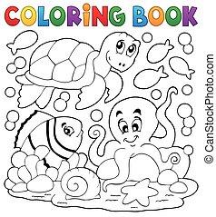 5, színezés, állatok, könyv, tenger